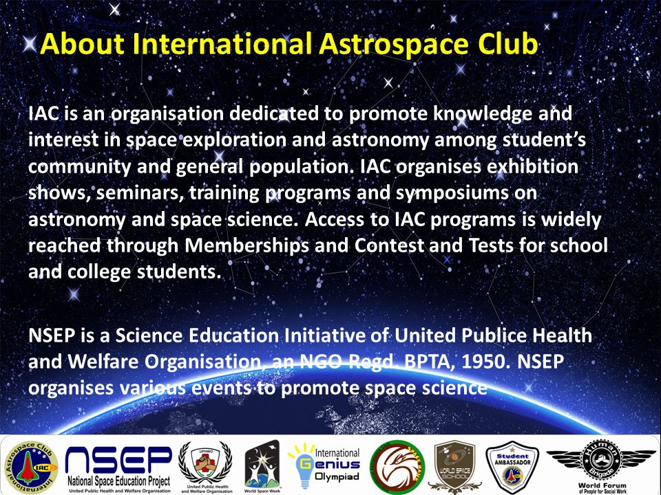 Program in Space and Astronomy What ?: It's a stunning 1hr program on Space science and Astronomy for students from Kinder Garden to Grade 10.