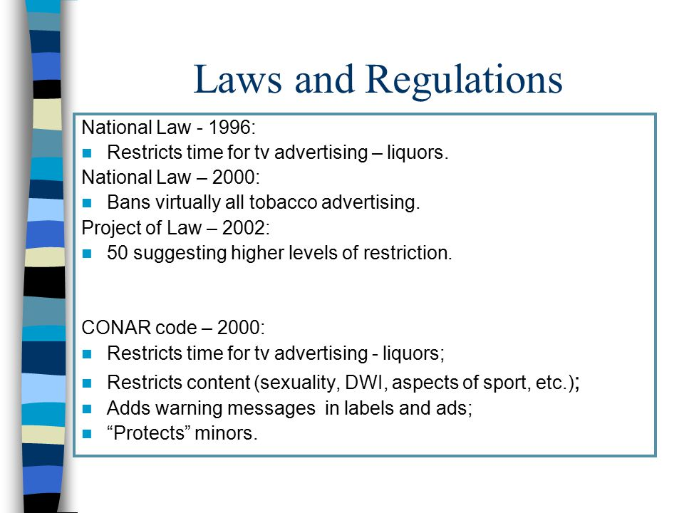Laws and Regulations National Law - 1996: Restricts time for tv advertising – liquors.