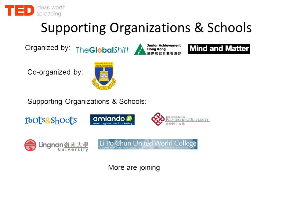 Supporting Organizations & Schools More are joining Organized by: Co-organized by: Supporting Organizations & Schools: