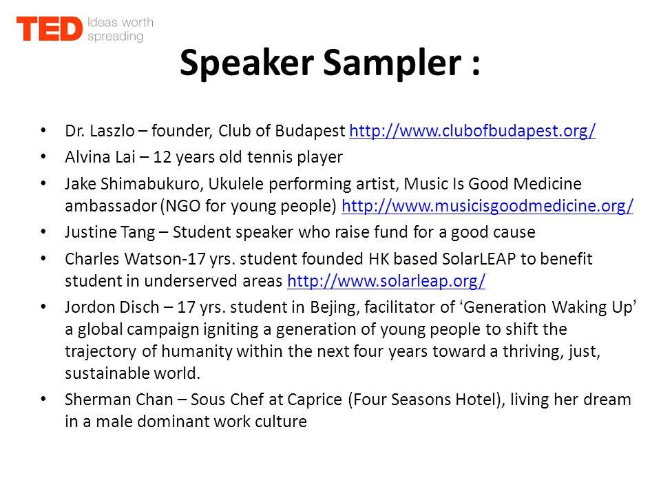 Speaker Sampler : Dr.