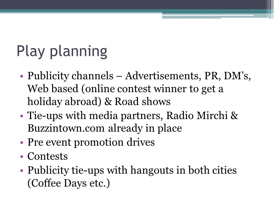 Play planning Publicity channels – Advertisements, PR, DM's, Web based (online contest winner to get a holiday abroad) & Road shows Tie-ups with media partners, Radio Mirchi & Buzzintown.com already in place Pre event promotion drives Contests Publicity tie-ups with hangouts in both cities (Coffee Days etc.)