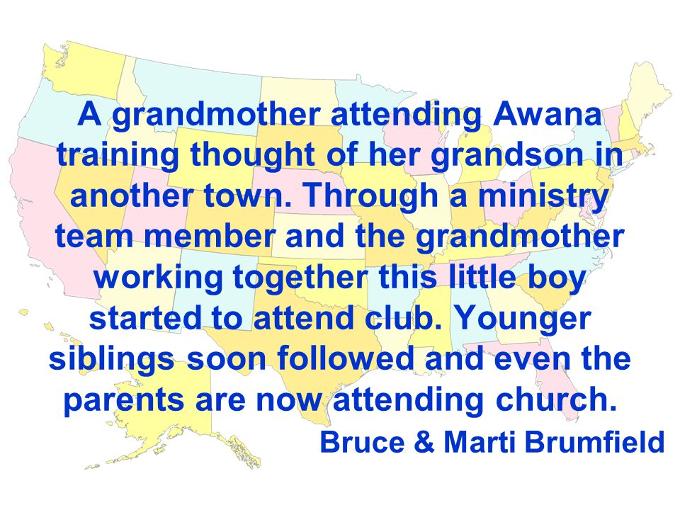 A grandmother attending Awana training thought of her grandson in another town.