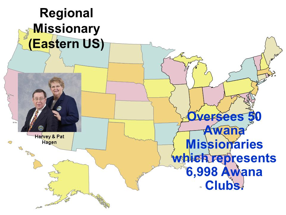 Oversees 50 Awana Missionaries which represents 6,998 Awana Clubs.