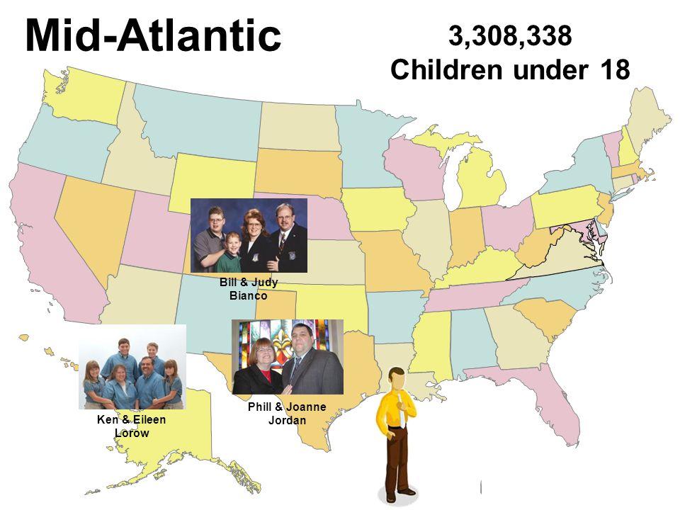 Mid-Atlantic 3,308,338 Children under 18 Bill & Judy Bianco Ken & Eileen Lorow Phill & Joanne Jordan