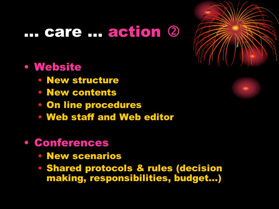 … care … action  Website New structure New contents On line procedures Web staff and Web editor Conferences New scenarios Shared protocols & rules (d