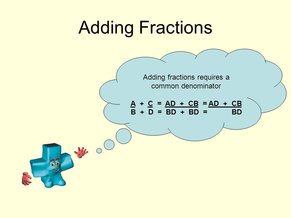 Adding Fractions Adding fractions requires a common denominator A + C = AD + CB = AD + CB B + D = BD + BD = BD
