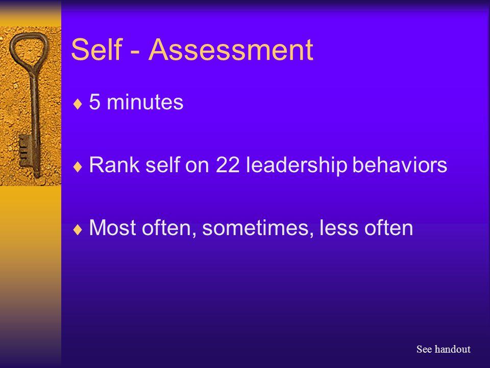 Self - Assessment  5 minutes  Rank self on 22 leadership behaviors  Most often, sometimes, less often See handout
