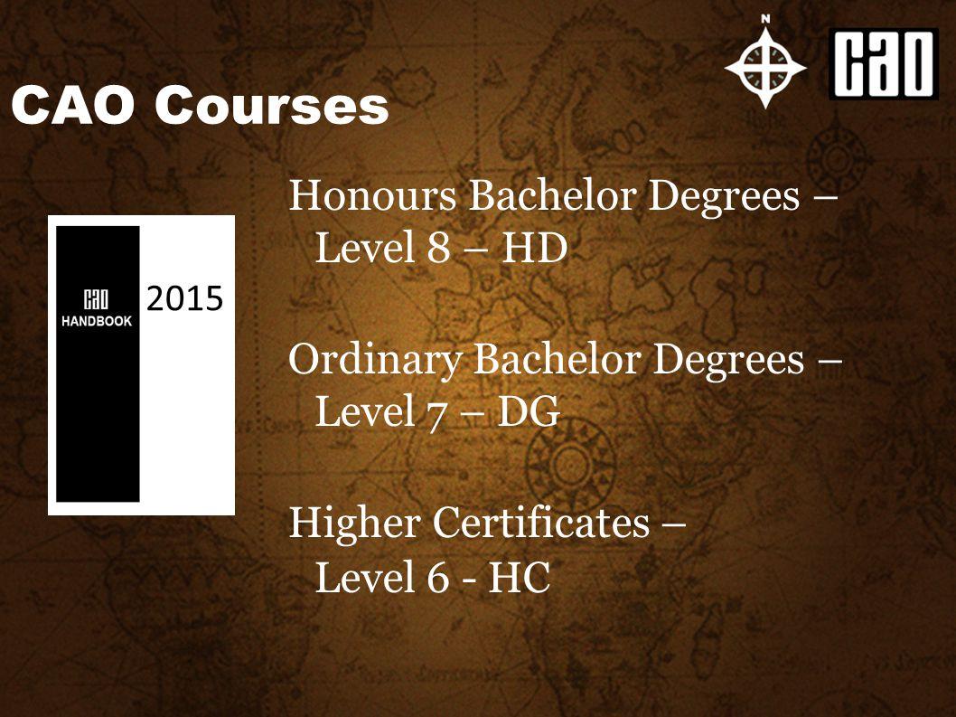 Honours Bachelor Degrees – Level 8 – HD Ordinary Bachelor Degrees – Level 7 – DG Higher Certificates – Level 6 - HC CAO Courses 2015