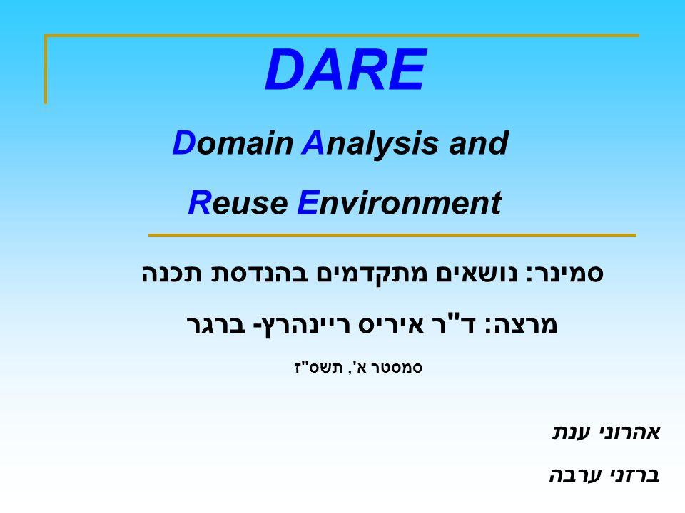DARE Domain Analysis and Reuse Environment סמינר: נושאים מתקדמים בהנדסת תכנה מרצה: ד ר איריס ריינהרץ- ברגר סמסטר א , תשס ז אהרוני ענת ברזני ערבה