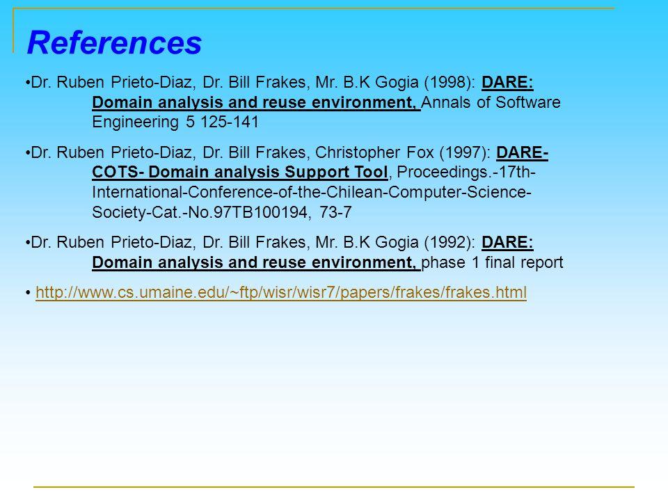 References Dr. Ruben Prieto-Diaz, Dr. Bill Frakes, Mr.