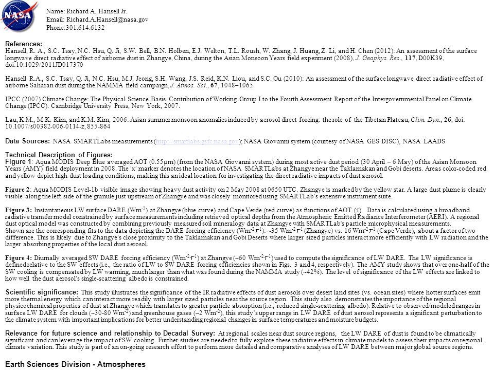 References: Hansell, R. A., S.C. Tsay, N.C. Hsu, Q.