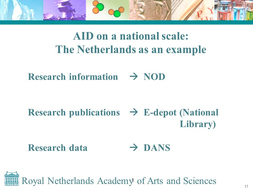 Royal Netherlands Academy of Arts and Sciences 1 AID on a national scale: The Netherlands as an example Research information  NOD Research publications  E-depot (National Library) Research data  DANS 15