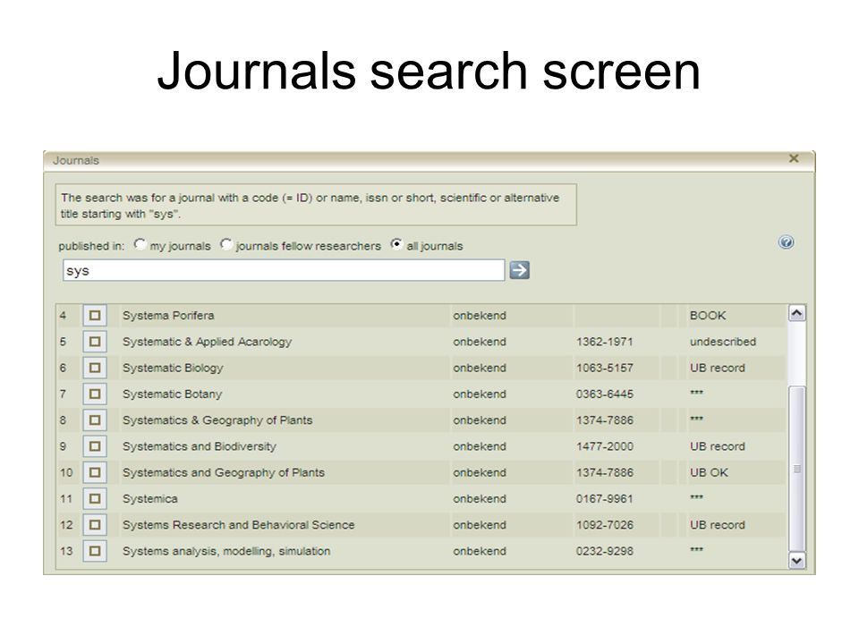Journals search screen