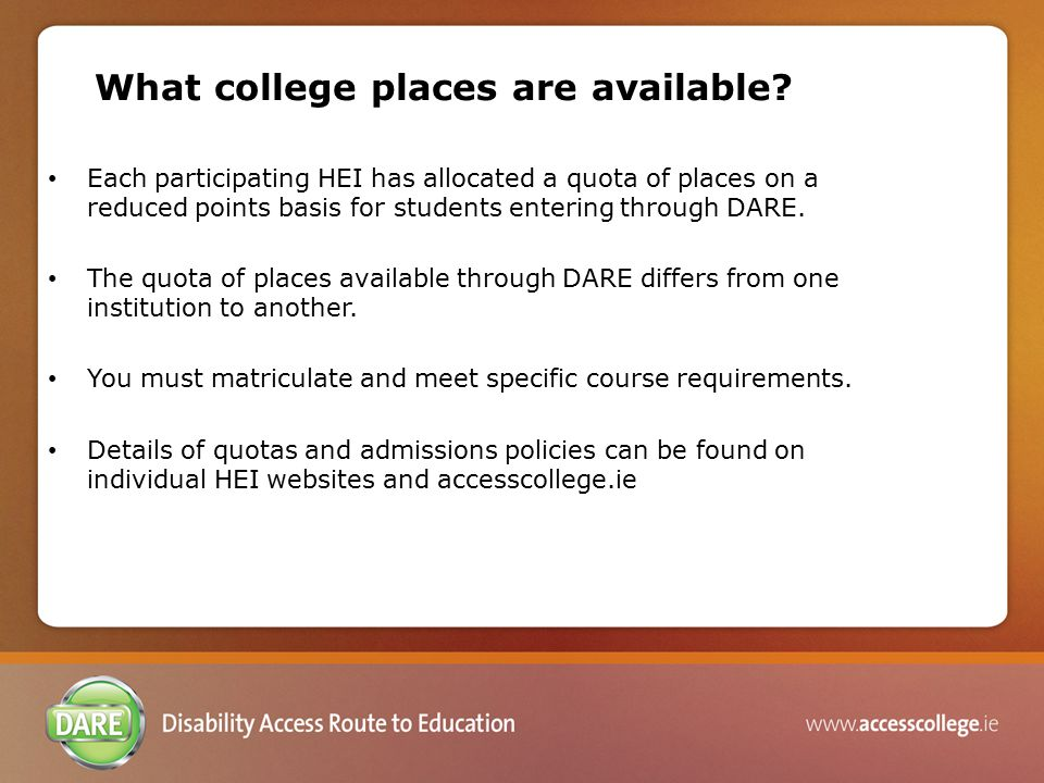 What college places are available.