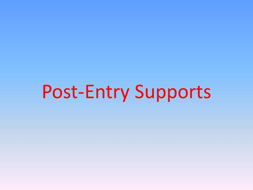 Post-Entry Supports