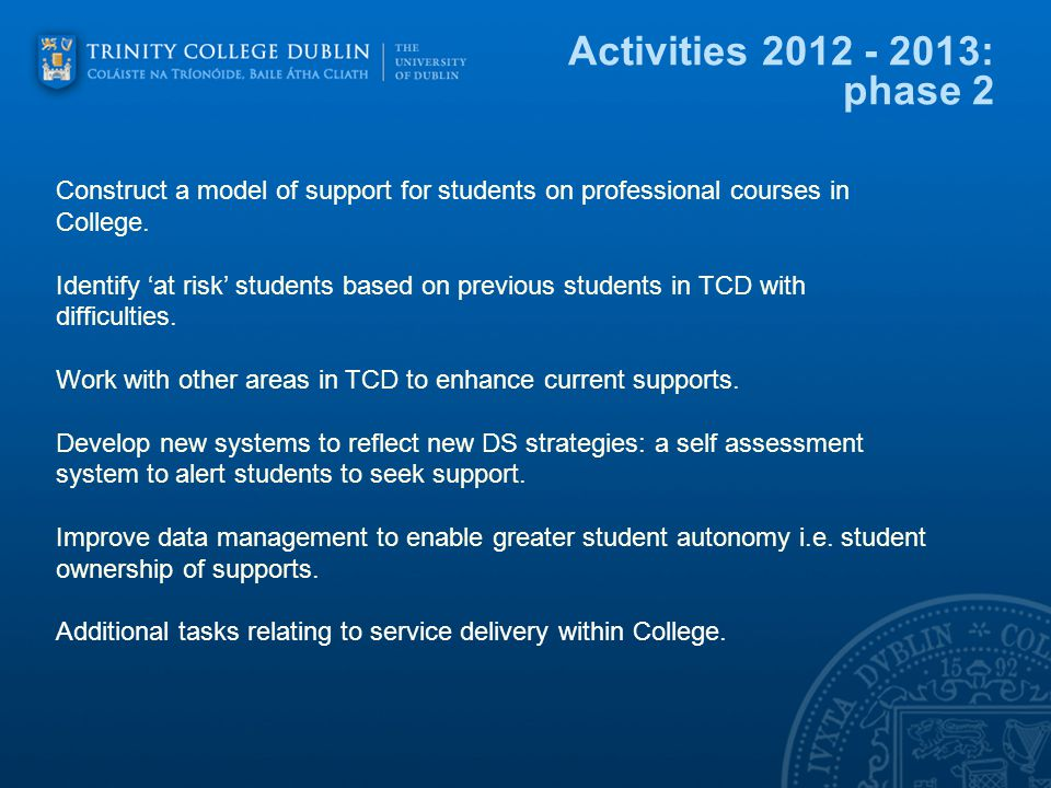 Activities : phase 2 Construct a model of support for students on professional courses in College.