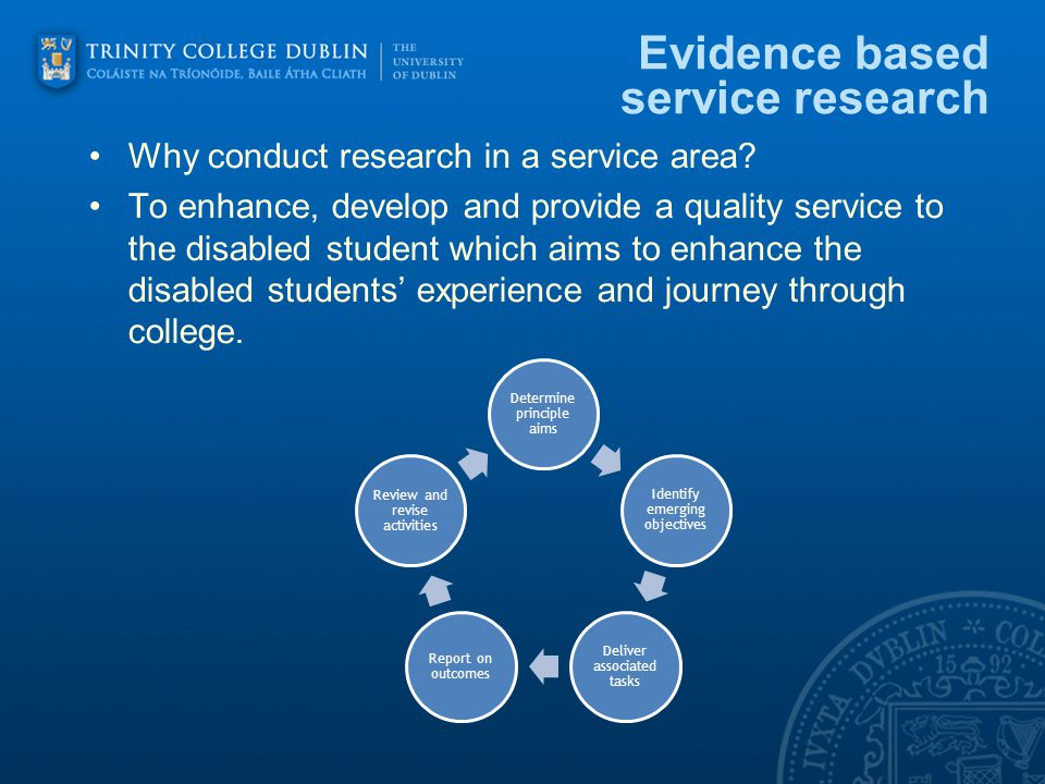 Evidence based service research Why conduct research in a service area.