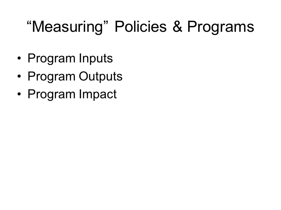 Measuring Policies & Programs Program Inputs Program Outputs Program Impact
