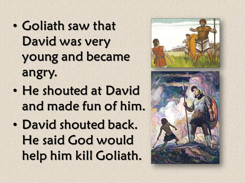 King Saul wanted David to wear armor and carry a sword, but David didn't want to wear it. King Saul wanted David to wear armor and carry a sword, but