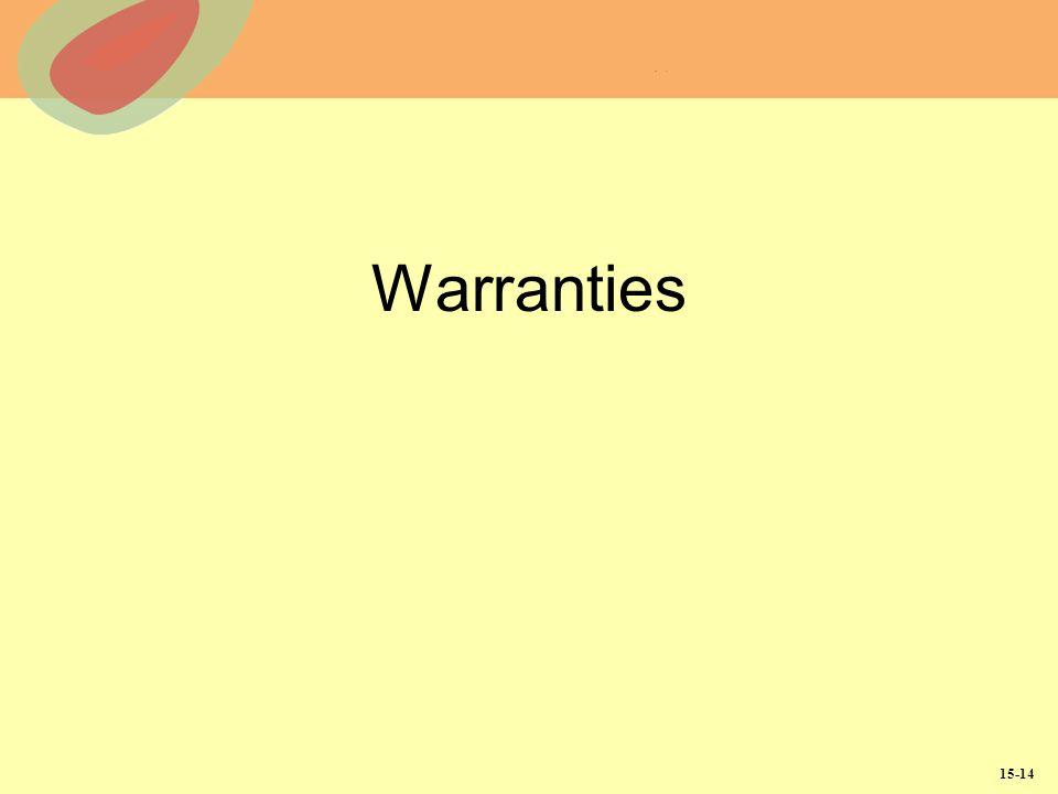 15-14 Warranties