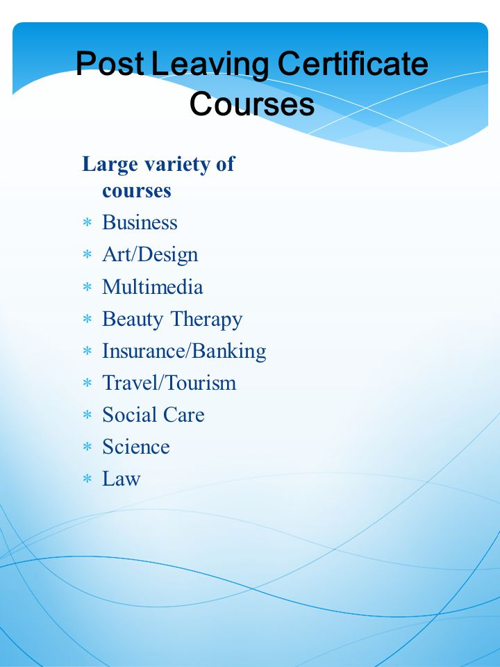 Post Leaving Certificate Courses Large variety of courses  Business  Art/Design  Multimedia  Beauty Therapy  Insurance/Banking  Travel/Tourism  Social Care  Science  Law