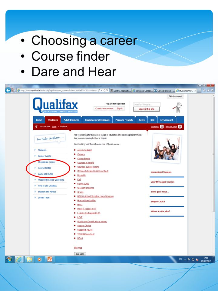 Choosing a career Course finder Dare and Hear