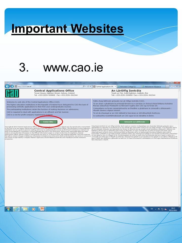 Important Websites 3.www.cao.ie