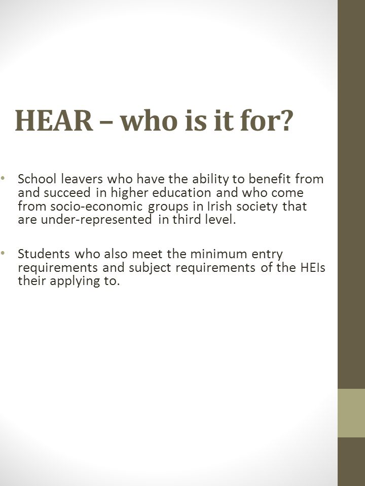 HEAR – who is it for.