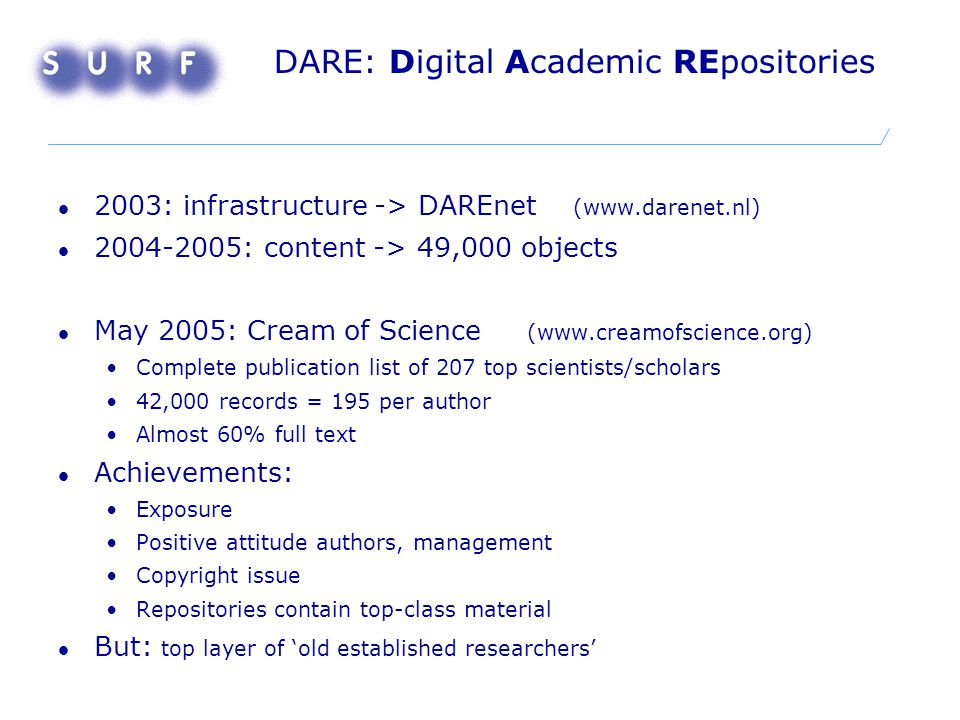 DARE: Digital Academic REpositories 2003: infrastructure -> DAREnet (www.darenet.nl) 2004-2005: content -> 49,000 objects May 2005: Cream of Science (www.creamofscience.org) Complete publication list of 207 top scientists/scholars 42,000 records = 195 per author Almost 60% full text Achievements: Exposure Positive attitude authors, management Copyright issue Repositories contain top-class material But: top layer of 'old established researchers'