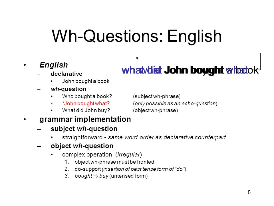 5 Wh-Questions: English English –declarative John bought a book –wh-question Who bought a book (subject wh-phrase) *John bought what (only possible as an echo-question) What did John buy (object wh-phrase) grammar implementation –subject wh-question straightforward - same word order as declarative counterpart –object wh-question complex operation (irregular) 1.object wh-phrase must be fronted 2.do-support (insertion of past tense form of do ) 3.bought  buy (untensed form) John bought a bookJohn bought whatwhat John boughtwhat did John boughtwhat did John buy