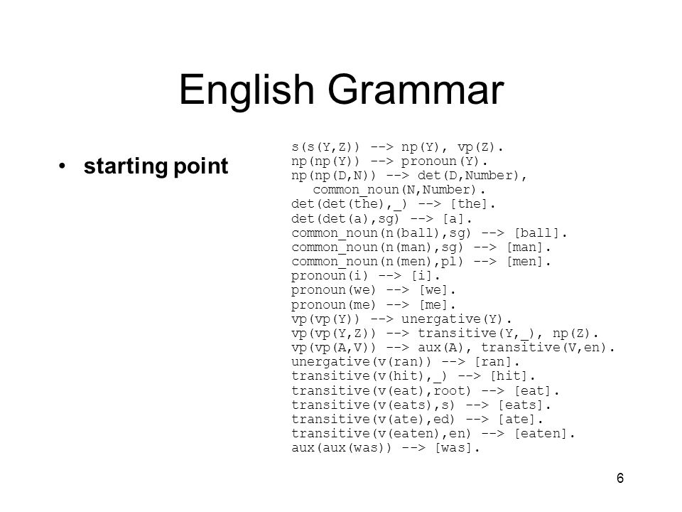 6 English Grammar starting point s(s(Y,Z)) --> np(Y), vp(Z).