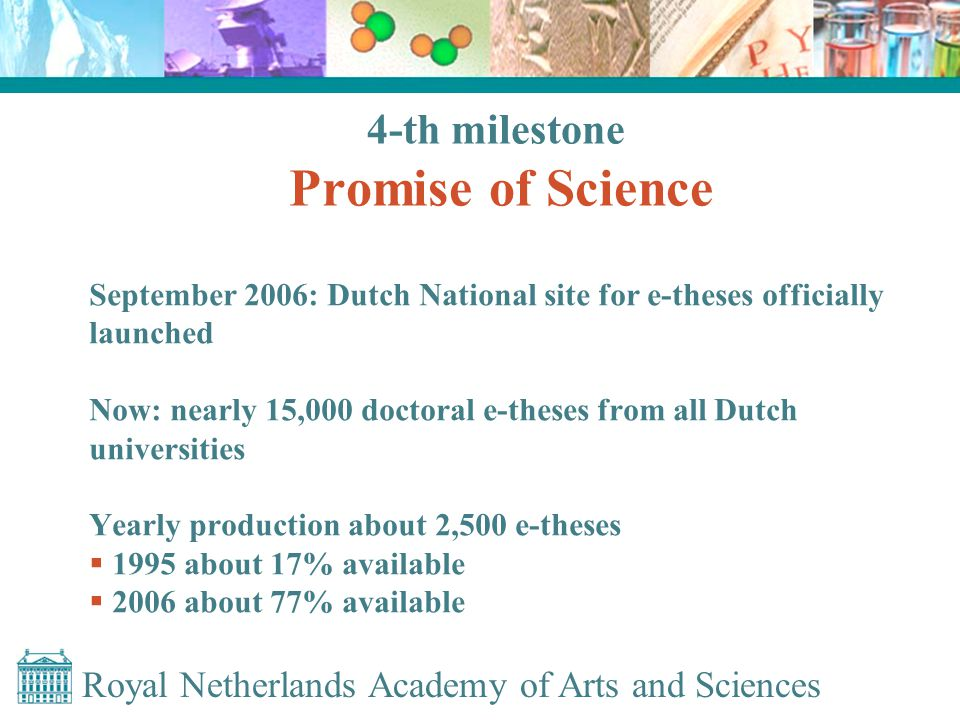Royal Netherlands Academy of Arts and Sciences 4-th milestone Promise of Science September 2006: Dutch National site for e-theses officially launched Now: nearly 15,000 doctoral e-theses from all Dutch universities Yearly production about 2,500 e-theses  1995 about 17% available  2006 about 77% available