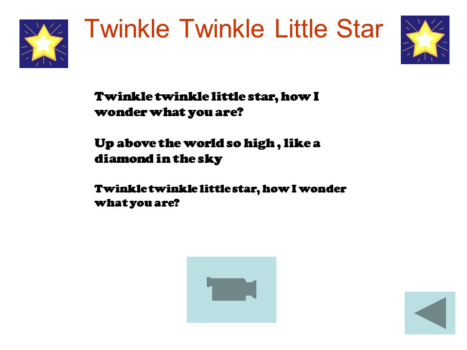 Twinkle Twinkle Little Star Twinkle twinkle little star, how I wonder what you are? Up above the world so high, like a diamond in the sky Twinkle twin