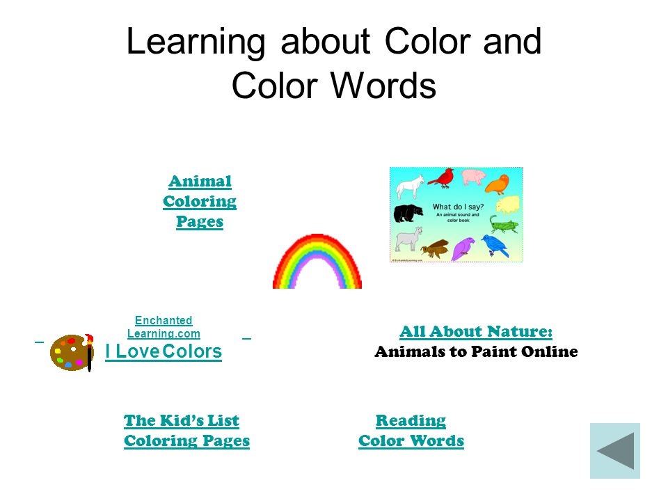 Learning about Color and Color Words Animal Coloring Pages Enchanted Learning.com I Love Colors All About Nature: All About Nature: Animals to Paint O