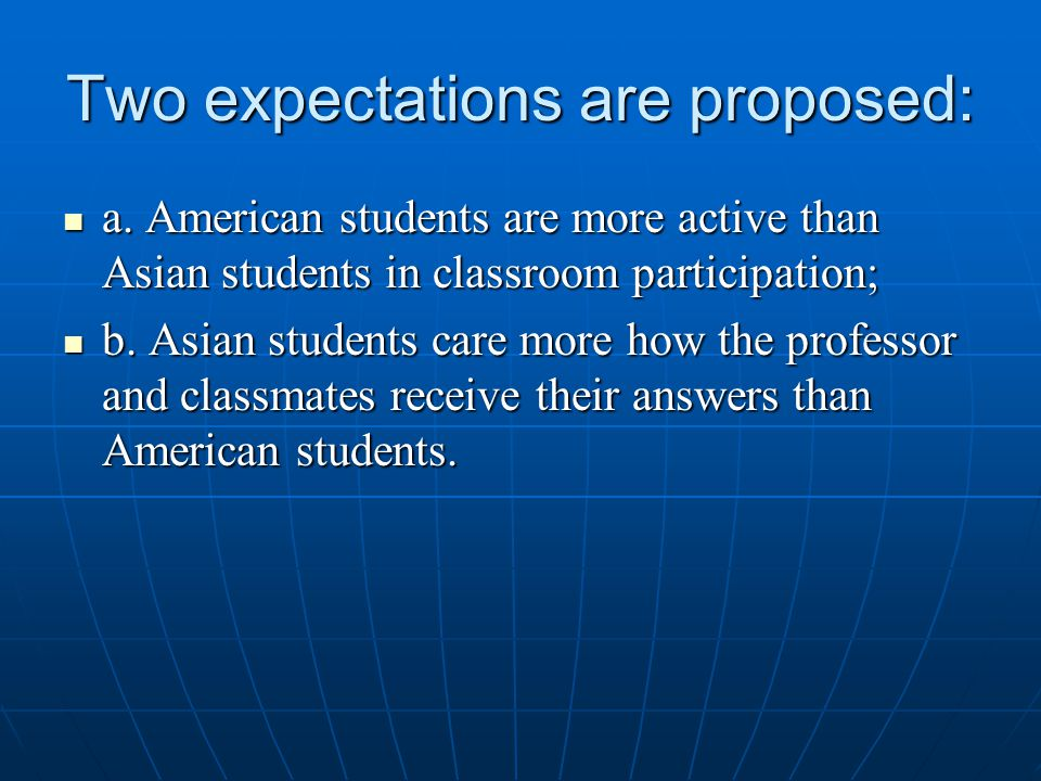 Two expectations are proposed: a. American students are more active than Asian students in classroom participation; a. American students are more acti