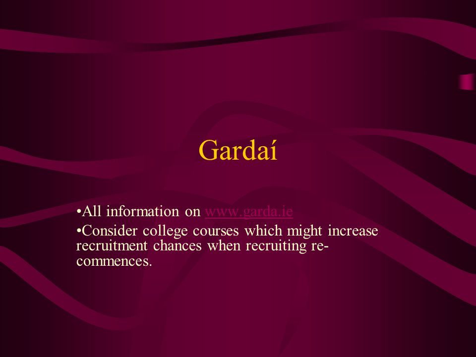 Gardaí All information on www.garda.iewww.garda.ie Consider college courses which might increase recruitment chances when recruiting re- commences.