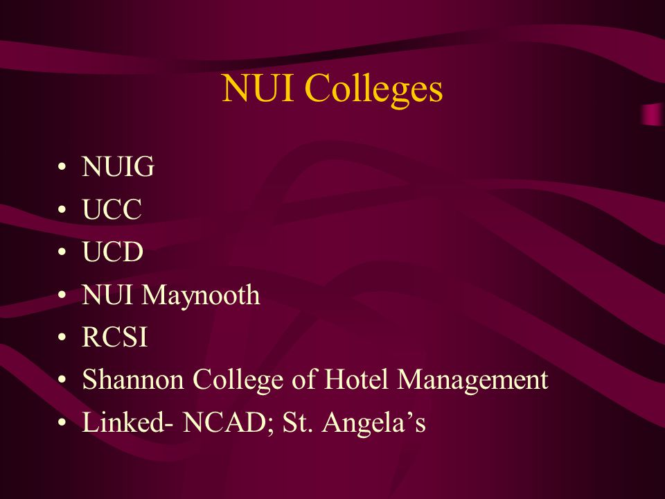 NUI Colleges NUIG UCC UCD NUI Maynooth RCSI Shannon College of Hotel Management Linked- NCAD; St. Angela's