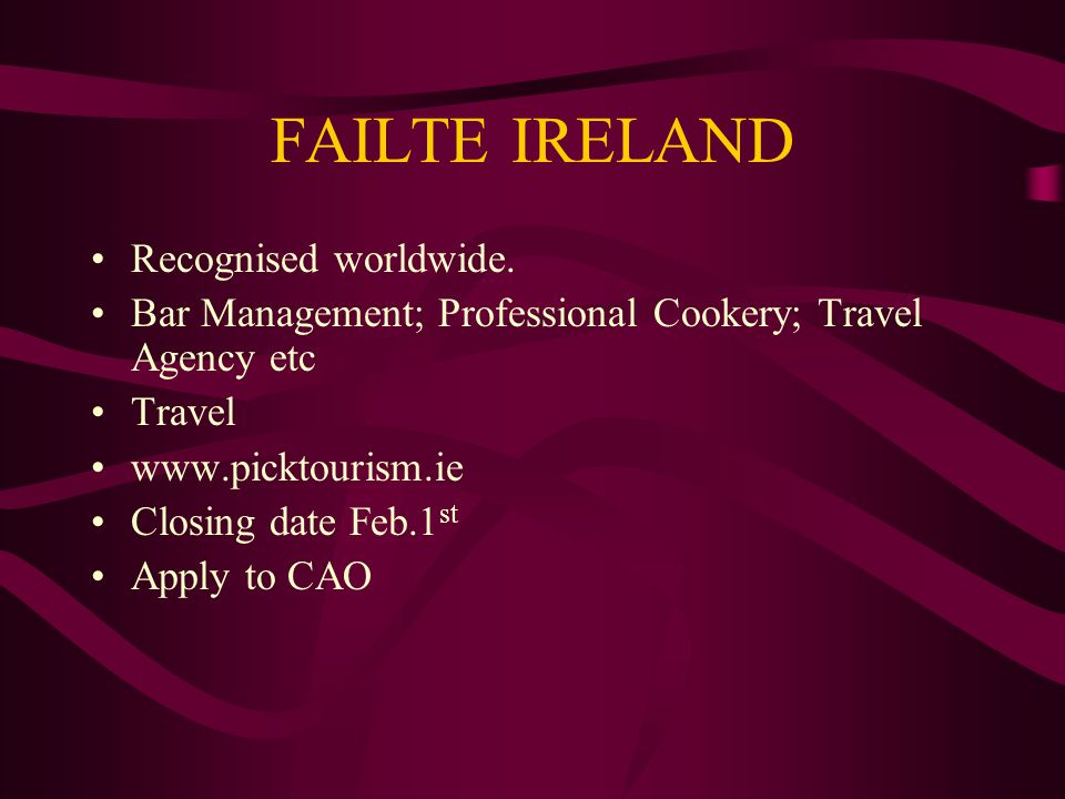 FAILTE IRELAND Recognised worldwide. Bar Management; Professional Cookery; Travel Agency etc Travel www.picktourism.ie Closing date Feb.1 st Apply to