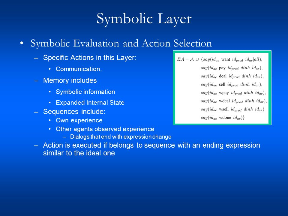 Symbolic Layer Symbolic Evaluation and Action Selection –Specific Actions in this Layer: Communication.