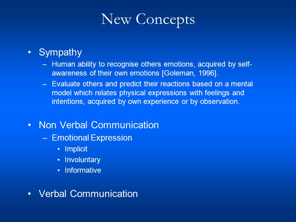 New Concepts Sympathy –Human ability to recognise others emotions, acquired by self- awareness of their own emotions [Goleman, 1996].