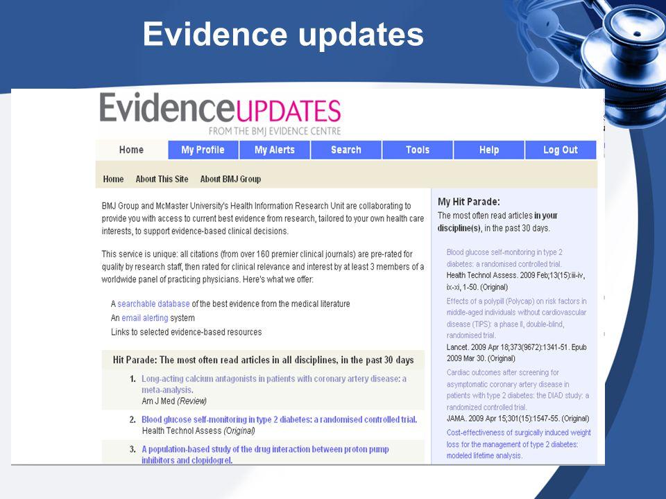 Evidence updates