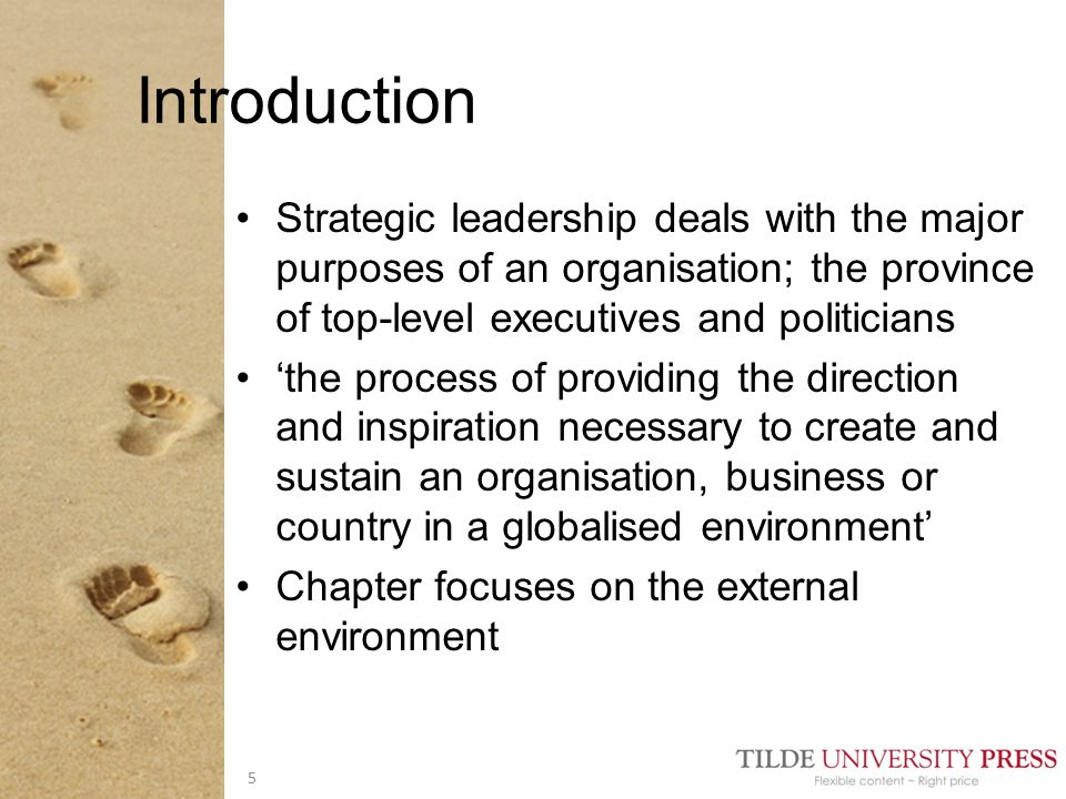 Strategic leadership can be traced back to Greeks Applied to business in the second half of the nineteenth century (Ghemawat 2006) WWII provided a stimulus to strategic thinking in business and military Peter Drucker: Large businesses could take on the responsibility for shaping their environment, rather than simply responding to it Historical context 6