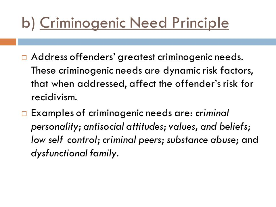 b) Criminogenic Need Principle  Address offenders' greatest criminogenic needs. These criminogenic needs are dynamic risk factors, that when addresse