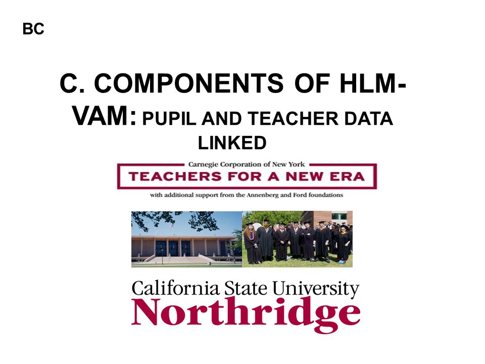 C. COMPONENTS OF HLM- VAM: PUPIL AND TEACHER DATA LINKED BC