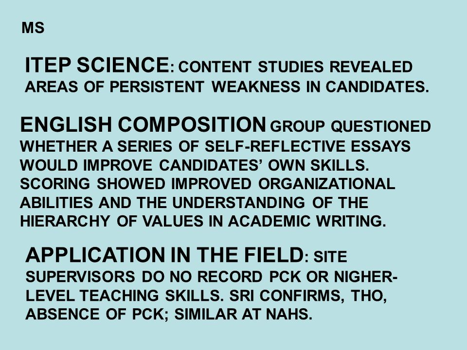 ENGLISH COMPOSITION GROUP QUESTIONED WHETHER A SERIES OF SELF-REFLECTIVE ESSAYS WOULD IMPROVE CANDIDATES' OWN SKILLS.