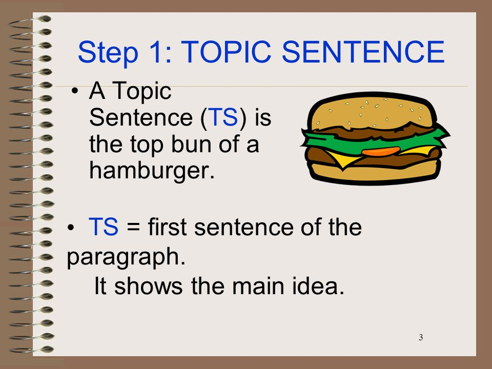 3 Step 1: TOPIC SENTENCE A Topic Sentence (TS) is the top bun of a hamburger.