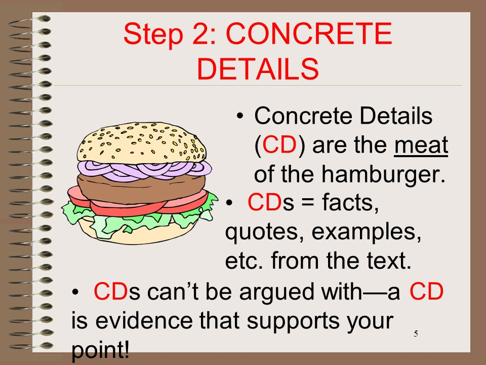 5 Step 2: CONCRETE DETAILS Concrete Details (CD) are the meat of the hamburger. CDs = facts, quotes, examples, etc. from the text. CDs can't be argued