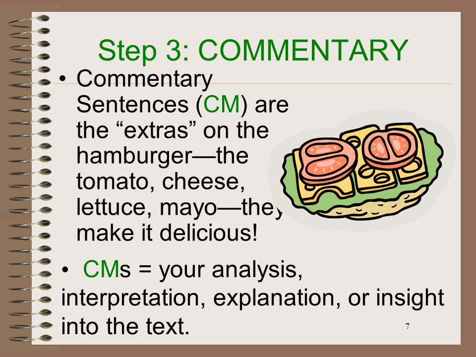 7 Step 3: COMMENTARY Commentary Sentences (CM) are the extras on the hamburger—the tomato, cheese, lettuce, mayo—they make it delicious.