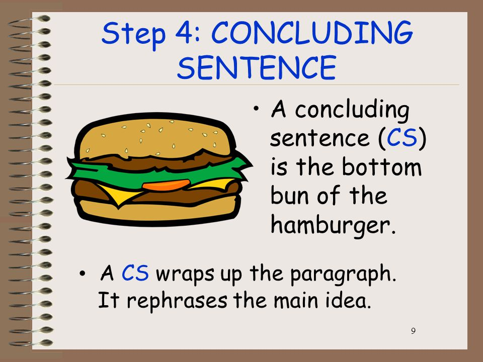 9 Step 4: CONCLUDING SENTENCE A concluding sentence (CS) is the bottom bun of the hamburger.