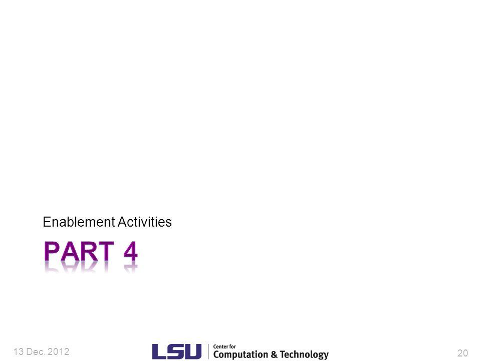 Enablement Activities 13 Dec. 2012 20